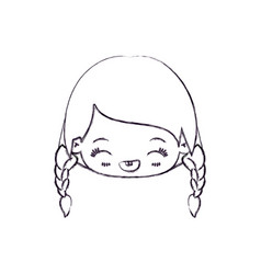 Blurred thin silhouette of kawaii head little girl vector