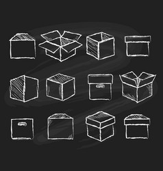 Boxes on chalk board vector