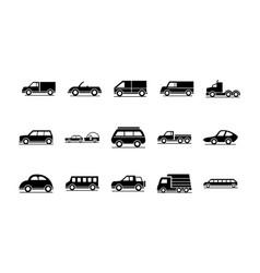 car model trailer bus truck transport vehicle vector image
