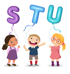 Cartoon kids holding letter stu shaped balloons vector