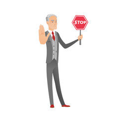 Caucasian businessman holding stop road sign vector
