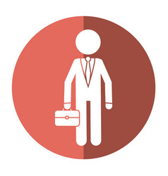 Character business man with suit portfolio shadow vector