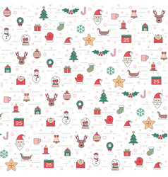 christmas and happy new year pattern set winter vector image