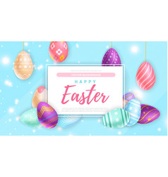 Colored eggs near banner with happy easter writing vector
