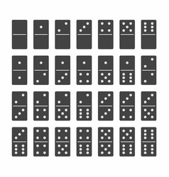 Complete set of domino stones in black vector