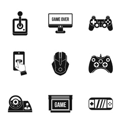 Computer games icons set simple style vector