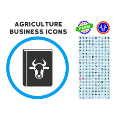 Cow book rounded icon with set vector