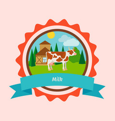 Cow flat milk label design vector