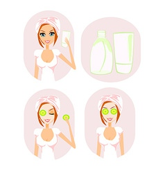 Cute woman applying moisturizer vector
