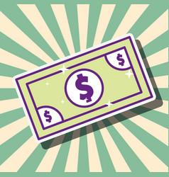 dollar banknote money cash retro style cartoon vector image