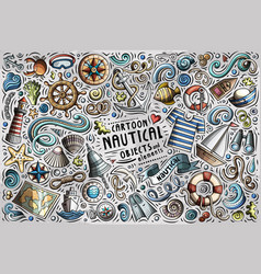 doodle cartoon set of nautical objects vector image