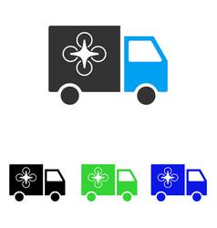 drone delivery van flat icon vector image