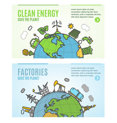 ecology flyer clean energy and factories banner vector image