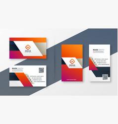 elegant modern business card set template vector image