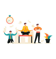 Employees in a panic stress at work web design vector