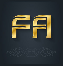 F and a initial golden logo fa - metallic 3d icon vector