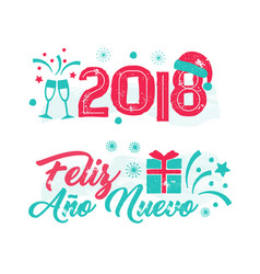 feliz ano nuevo - happy new year spanish language vector image