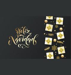 Feliz navidad merry christmas golden lettering vector