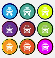 Fire engine icon sign Nine multi colored round vector