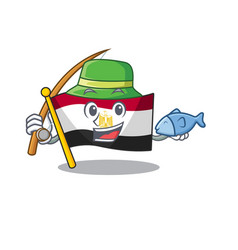 Fishing flag egypt folded in mascot cupboard vector
