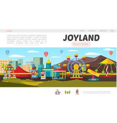 flat amusement park landing page concept vector image