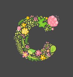 Floral summer letter c flower capital wedding vector