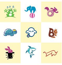 fun animal logo image template vector image