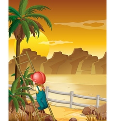 Girl climbing up the palm tree vector