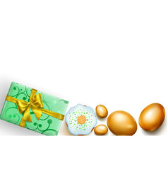 golden easter eggs cake and gift box on white vector image