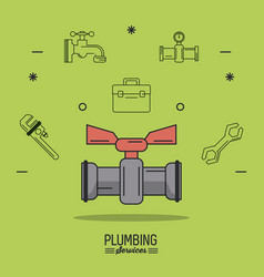 Green background poster plumbing services with vector