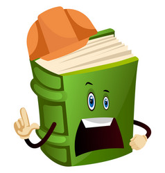 Green book is a construction worker on white vector