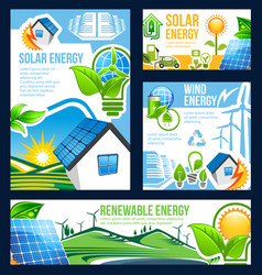 green energy banner of solar wind and hydro power vector image