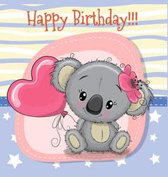 Greeting card koala girl with balloon vector