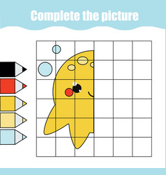 Grid copy drawing activity educational children vector