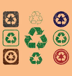Grunge green eco recycling trash can icon shape vector