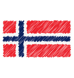 Hand drawn national flag of norway isolated on a vector