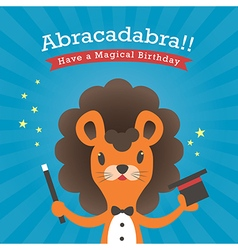 Happy birthday card with lion cartoon vector