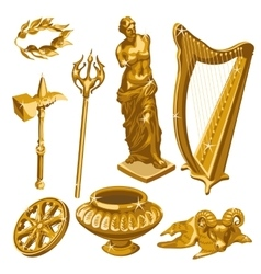 Harp statue weapons and other items antiquity vector