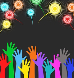Holiday background - colorful hands on background vector