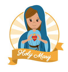 holy mary sacred heart religion statue image vector image