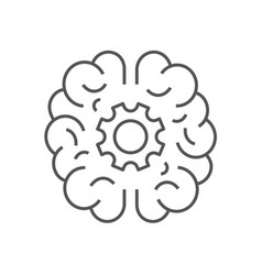 human brain with cogwheel inside linear icon vector image