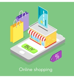 isometric concept for online shopping vector image