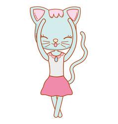 Kitty cat lay down cartoon vector