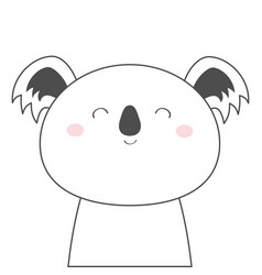 Koala bear face head line sketch icon kawaii vector