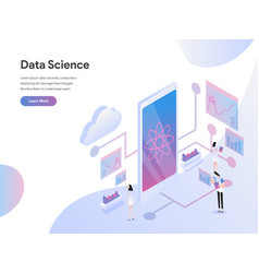 landing page template data science isometric vector image