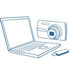 Laptop photo camera usb flash drive vector image