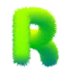 letter r fluffy fur texture decorative green vector image