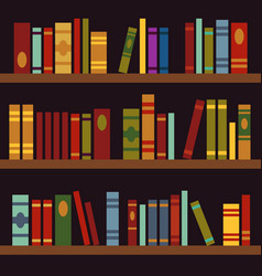 Library book shelves book box vector