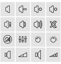 line speaker icon set vector image