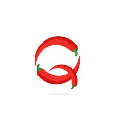 Logo red chili pepper letter q vector